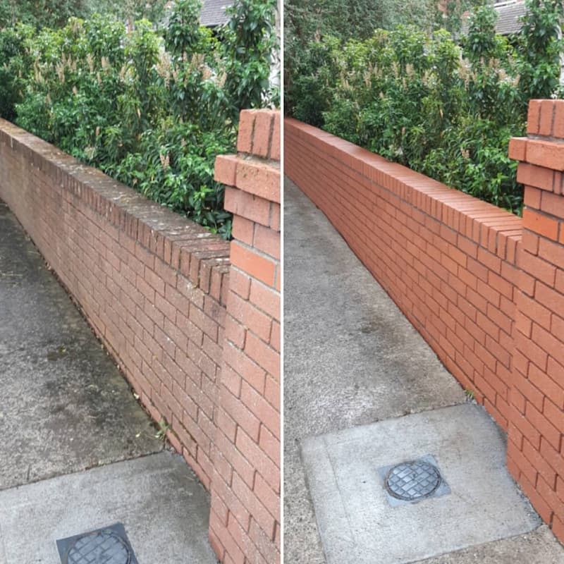 power washing brick boundary wall