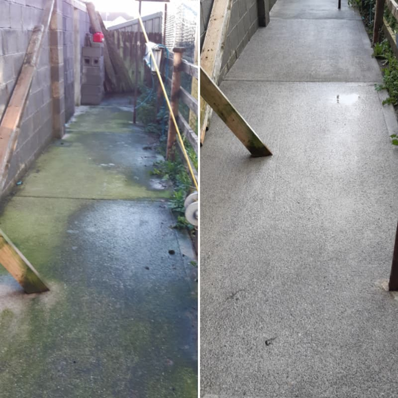 power washing concrete path
