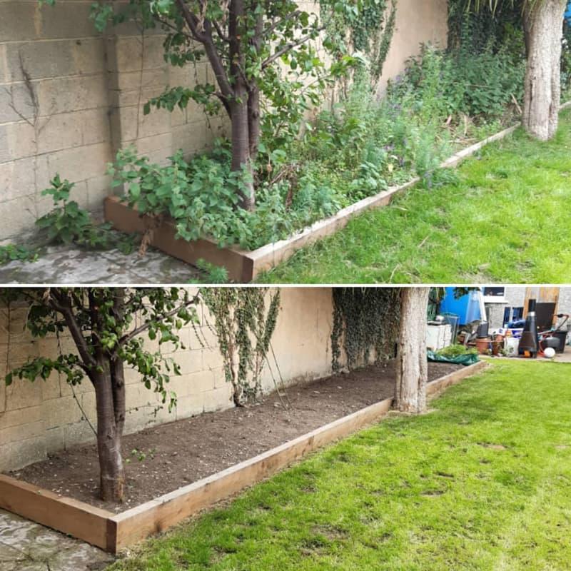 gardeners weeding garden beds