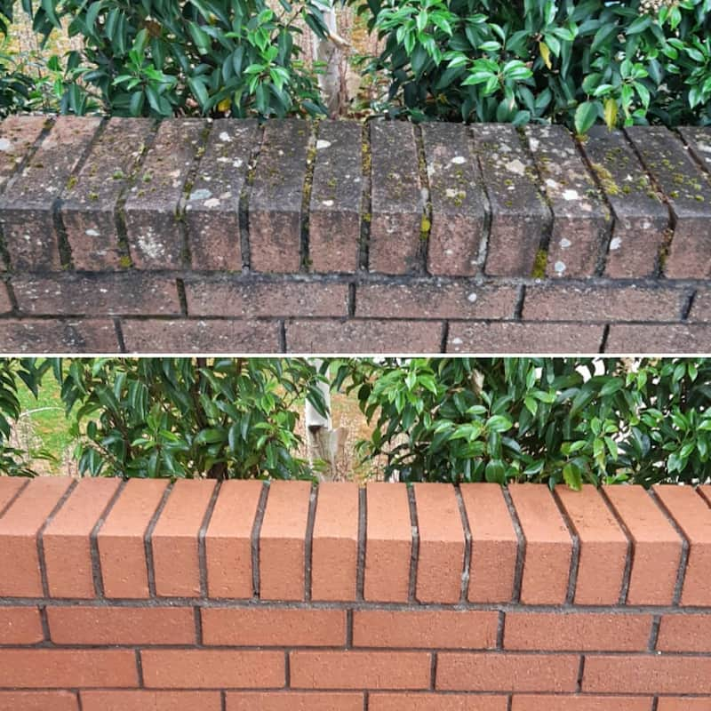 power washing top of brick boundary wall