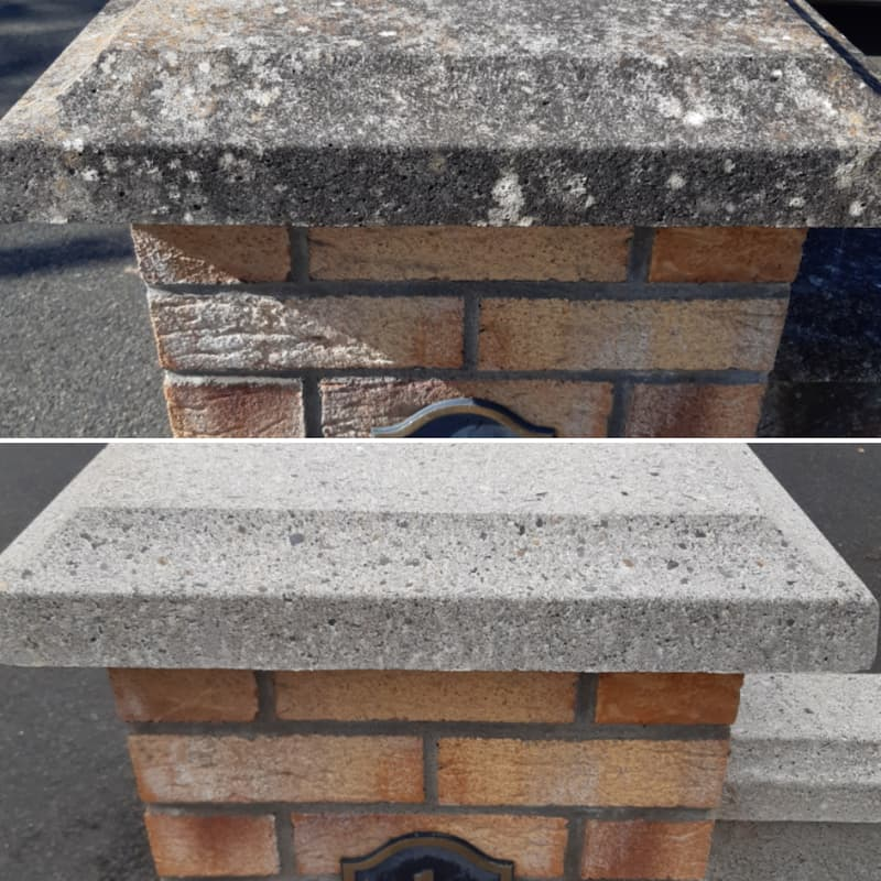 Power washing of gate capping stones