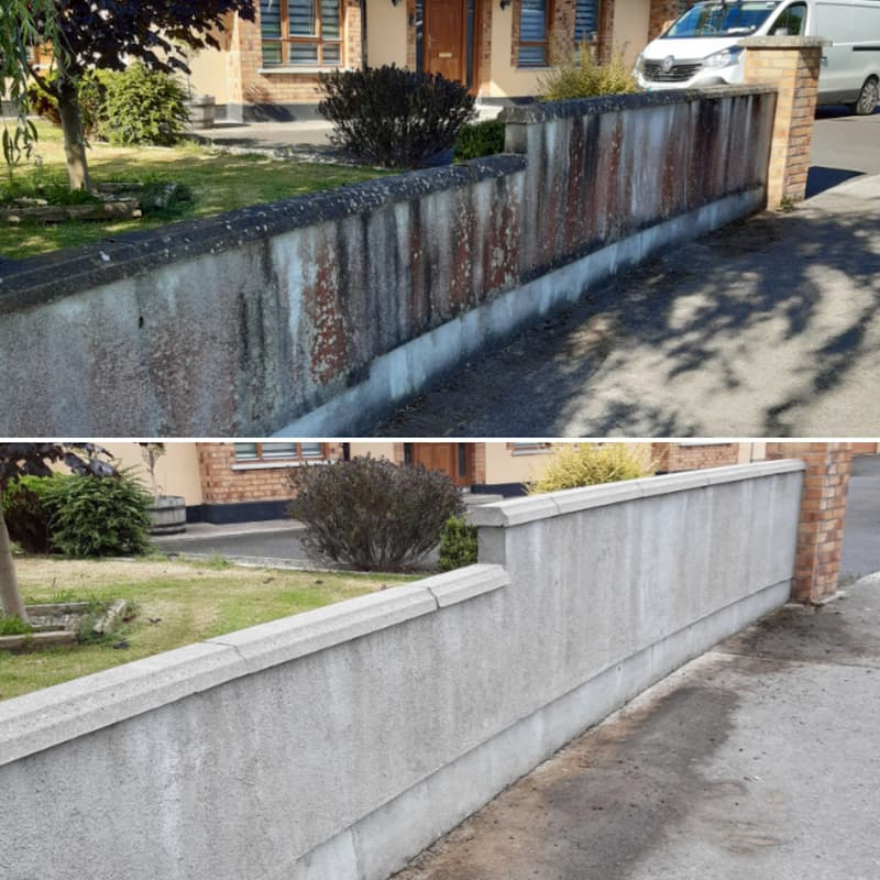 Power washing render wall cleaning